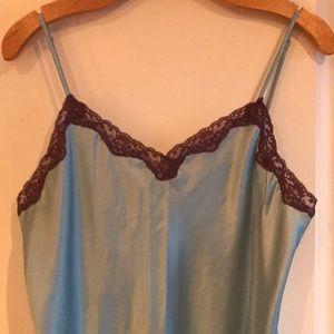 Light blue and purple lace trim chemise.